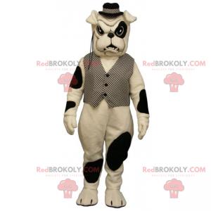 Bulldog Maskottchen mit Flecken mit Jacke und Hut -