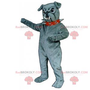 Šedý buldok maskot s špičatým límcem - Redbrokoly.com