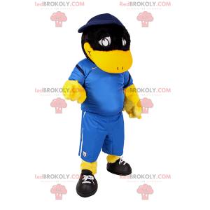 Černá kachna maskot v fotbalové vybavení - Redbrokoly.com