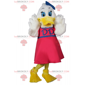 White duck mascot with pink dress and blue bow - Redbrokoly.com
