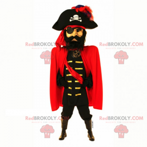 Mascotte del capitano pirata con mantello - Redbrokoly.com