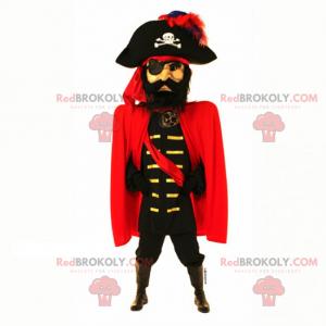 Maskot pirátského kapitána s pláštěm - Redbrokoly.com