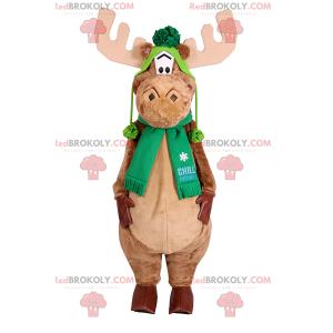 Caribou maskot med skjerf og grønn hatt - Redbrokoly.com