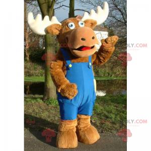 Caribou maskot v modrých kombinézách - Redbrokoly.com