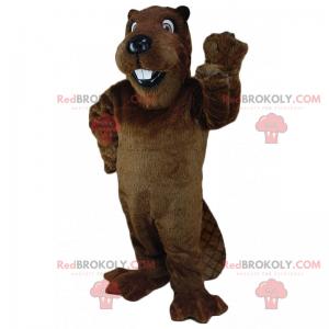 Tocando la mascota del castor - Redbrokoly.com
