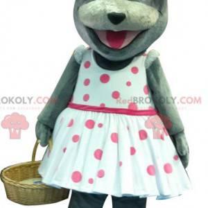 Šedý myší maskot s polka dot šaty - Redbrokoly.com
