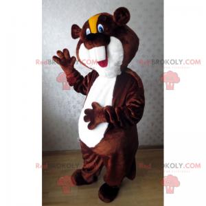 Beaver maskot med gul kam og blå øyne - Redbrokoly.com