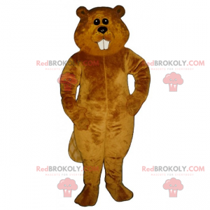 Mascotte castoro marrone con denti lunghi - Redbrokoly.com