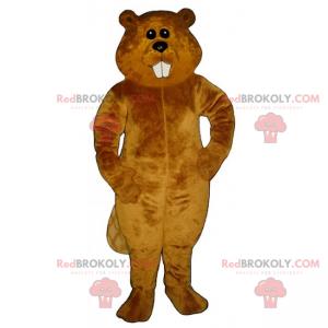 Maskot hnědý bobr s dlouhými zuby - Redbrokoly.com