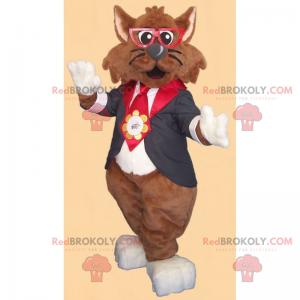 Katzenmaskottchen mit Brille und Jacke - Redbrokoly.com