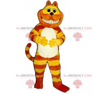 Gelbes und orange zweifarbiges Katzenmaskottchen -