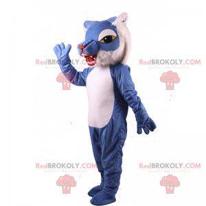 Blaues und weißes Katzenmaskottchen - Redbrokoly.com