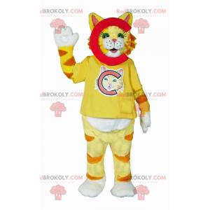 Maskot žluté pruhované kočky - Redbrokoly.com
