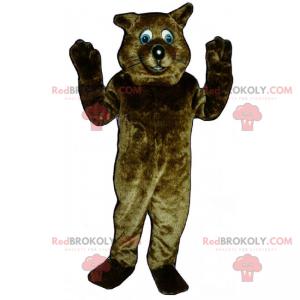 Braunes Katzenmaskottchen mit blauen Augen - Redbrokoly.com