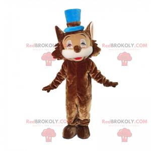 Brun kattemaskot med blå hatt - Redbrokoly.com