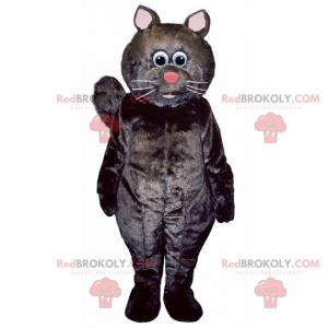 Černá kočka maskot s růžovým nosem - Redbrokoly.com