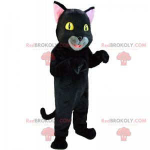 Schwarzes Katzenmaskottchen mit gelben Augen - Redbrokoly.com