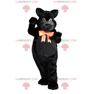 Černá kočka maskot s lukem - Redbrokoly.com