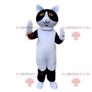 Černá a bílá kočka maskot - Redbrokoly.com