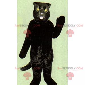 Černá kočka maskot se žlutýma očima - Redbrokoly.com