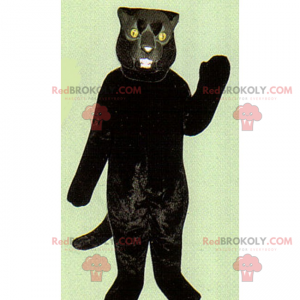 Svart kattemaskot med gule øyne - Redbrokoly.com