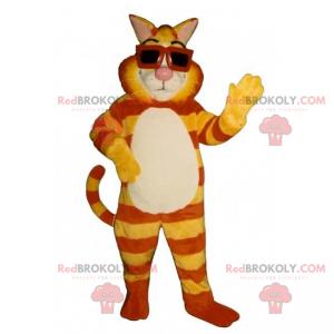 Tiger Katzenmaskottchen mit Sonnenbrille - Redbrokoly.com