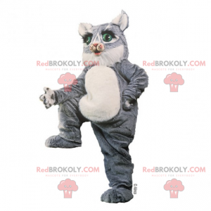 Šedé kotě maskot se zelenýma očima - Redbrokoly.com