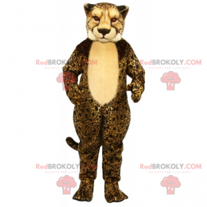 Cheetah maskot beige mage - Redbrokoly.com