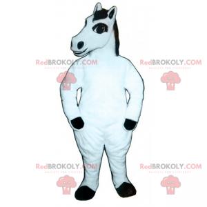 Hvit hest maskot med svart manke - Redbrokoly.com