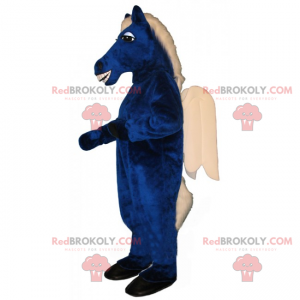Blå hestemaskot og hvite vinger - Redbrokoly.com