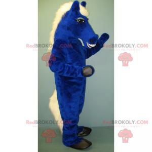 Niebieski koń maskotka i biała grzywa - Redbrokoly.com