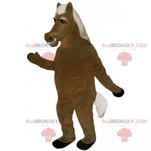 Horse mascot white and silky mane - Redbrokoly.com