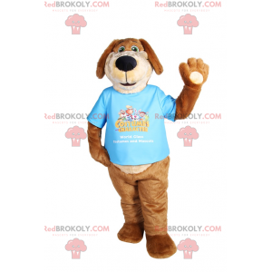 Dog mascot with long ears in a t-shirt - Redbrokoly.com