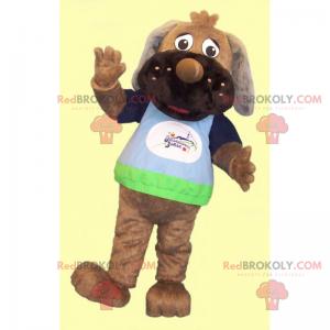 Dog mascot with long ears and t-shirt - Redbrokoly.com