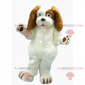 White dog mascot with long brown ears - Redbrokoly.com