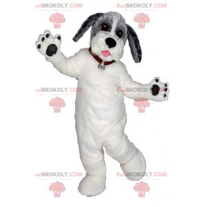 Maskot bílý pes a šedá hlava - Redbrokoly.com