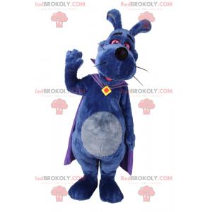 Blue dog mascot with purple cape - Redbrokoly.com