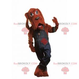 St Hubert dog mascot with denim overalls - Redbrokoly.com