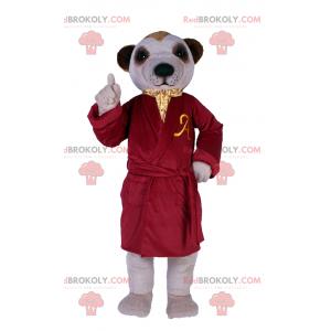 Maskot psa v luxusním červeném županu - Redbrokoly.com