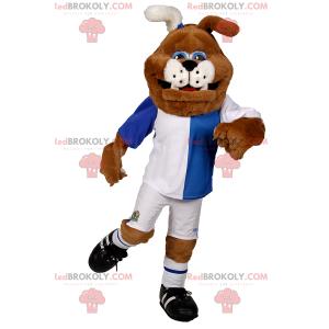 Psí maskot v modré a bílé fotbalové vybavení - Redbrokoly.com
