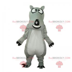 Šedý pes maskot s velkou hlavou - Redbrokoly.com