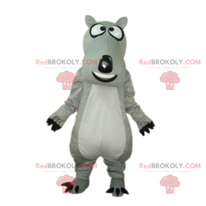 Gray dog mascot with big head - Redbrokoly.com