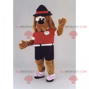 Maskot psa s dlouhými ušima s kloboukem - Redbrokoly.com