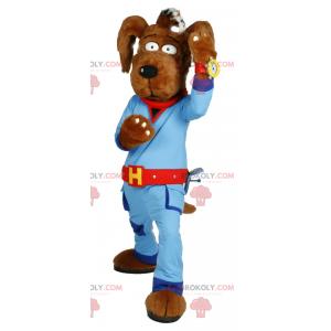 Hnědý psí maskot s modrou kombinací - Redbrokoly.com