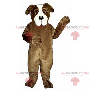 Hnědý a bílý pes maskot - Redbrokoly.com
