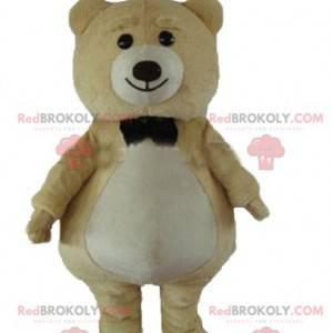 Stor bamse maskot beige og hvit - Redbrokoly.com