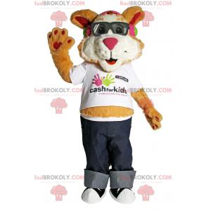 Maskotka szczeniaka z okularami przeciwsłonecznymi i dżinsami -