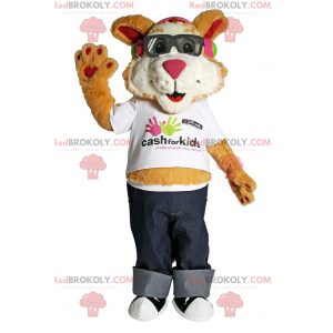 Puppy mascot with sunglasses and jeans - Redbrokoly.com