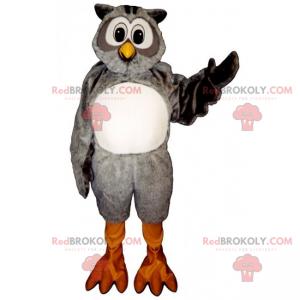 Gray and white owl mascot - Redbrokoly.com