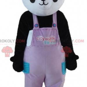Schwarz-Weiß-Panda-Maskottchen in Overalls mit Hut -